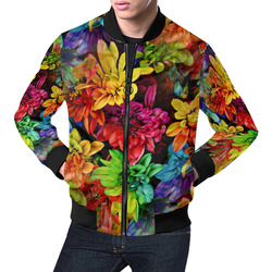 Photography Colorfully Asters Flowers Pattern All Over Print Bomber Jacket for Men (Model H19)