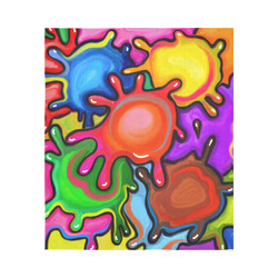 """Vibrant Abstract Paint Splats Cotton Linen Wall Tapestry 51""""x 60"""""""