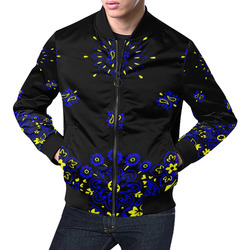 blue yellow bandana version 1 All Over Print Bomber Jacket for Men (Model H19)
