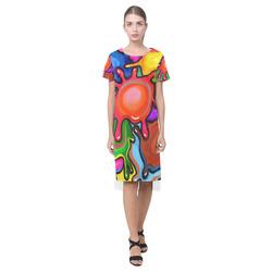 Vibrant Abstract Paint Splats Short Sleeves Casual Dress(Model D14)