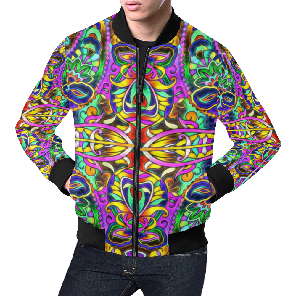Oriental Ornaments Mosaic multicolored All Over Print Bomber Jacket for Men (Model H19)