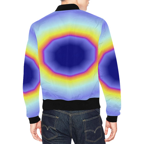Blue Tiedye All Over Print Bomber Jacket for Men (Model H19)