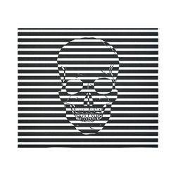 """Awesome Skull Black & White Cotton Linen Wall Tapestry 60""""x 51"""""""