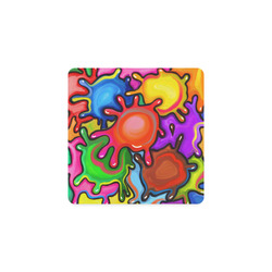 Vibrant Abstract Paint Splats Square Coaster