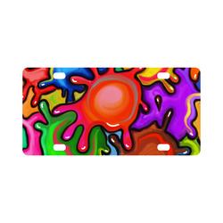 Vibrant Abstract Paint Splats Classic License Plate