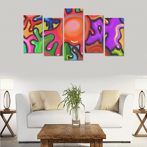 Vibrant Abstract Paint Splats Canvas Print Sets E (No Frame)