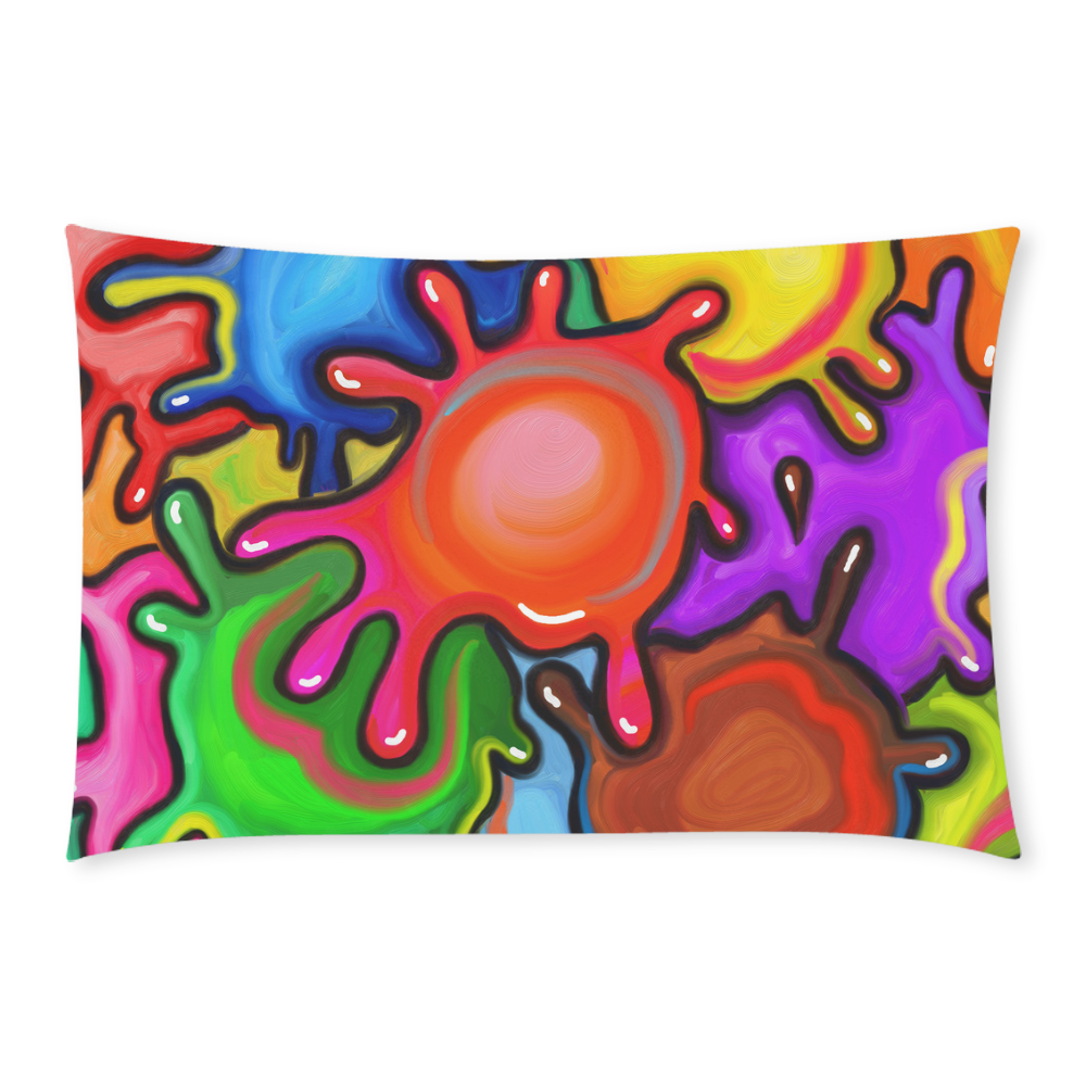 Vibrant Abstract Paint Splats 3-Piece Bedding Set