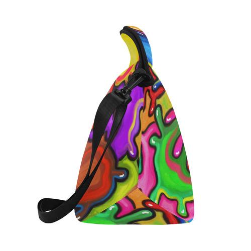 Vibrant Abstract Paint Splats Neoprene Lunch Bag/Large (Model 1669)