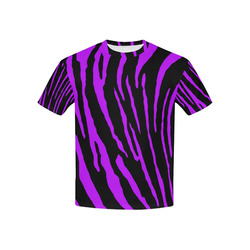 Purple Tiger Stripes Kids' All Over Print T-shirt (USA Size) (Model T40)