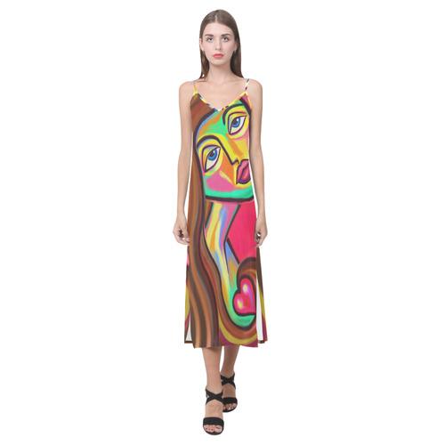 Love is Near Vibrant Portrait V-Neck Open Fork Long Dress(Model D18)