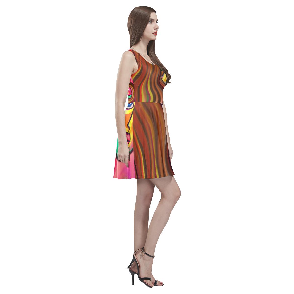 Love is Near Vibrant Portrait Thea Sleeveless Skater Dress(Model D19)