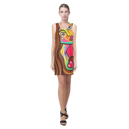 Love is Near Vibrant Portrait Helen Sleeveless Dress (Model D10)