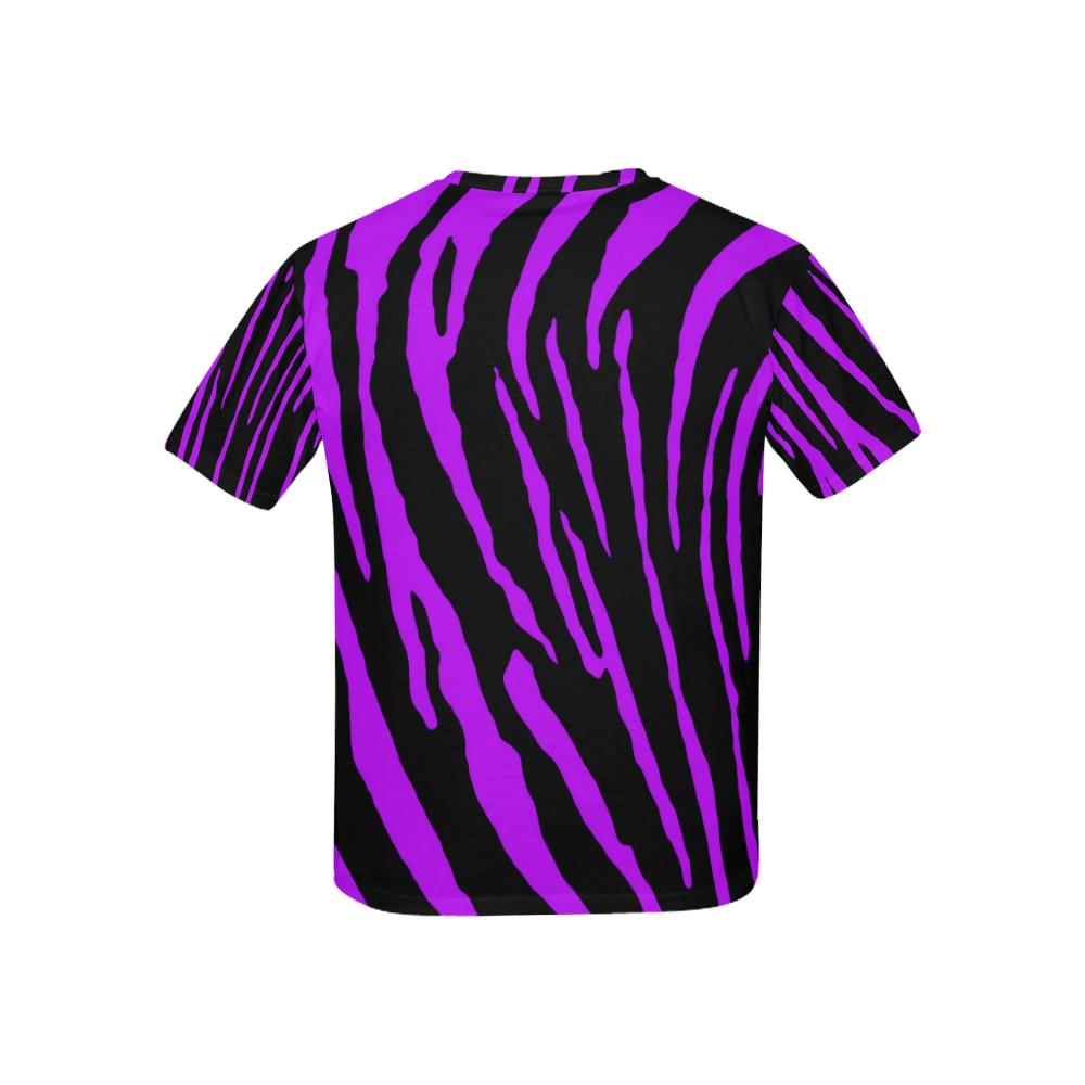 Purple Tiger Stripes Kids' All Over Print T-shirt (USA Size) (Model T40)