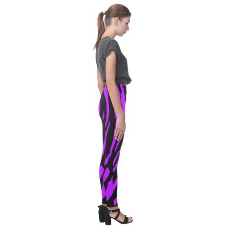 Purple Tiger Stripes Cassandra Women's Leggings (Model L01)