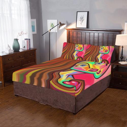 Love is Near Vibrant Portrait 3-Piece Bedding Set