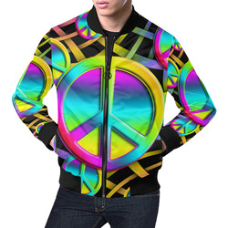 Neon Colorful PEACE pattern All Over Print Bomber Jacket for Men (Model H19)