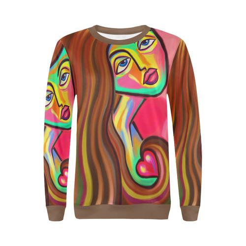 Love is Near Vibrant Portrait All Over Print Crewneck Sweatshirt for Women (Model H18)