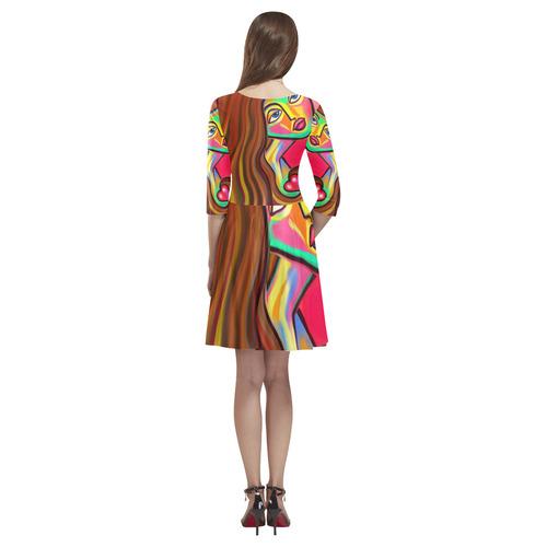 Love is Near Vibrant Portrait Tethys Half-Sleeve Skater Dress(Model D20)