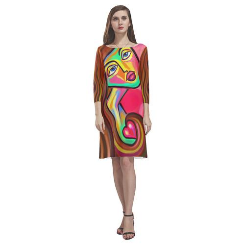 Love is Near Vibrant Portrait Rhea Loose Round Neck Dress(Model D22)
