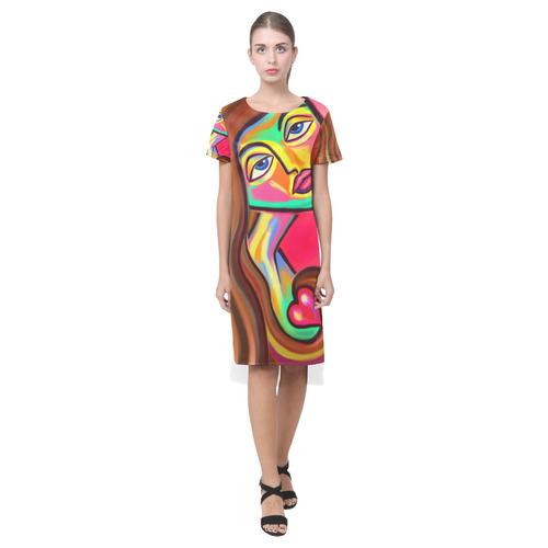Love is Near Vibrant Portrait Short Sleeves Casual Dress(Model D14)