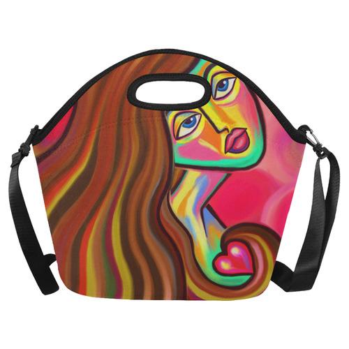 Love is Near Vibrant Portrait Neoprene Lunch Bag/Large (Model 1669)