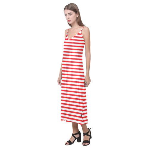 Horizontal Red Candy Stripes V-Neck Open Fork Long Dress(Model D18)