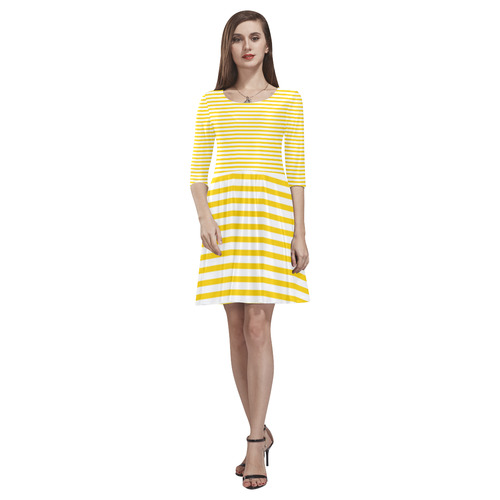 Horizontal Yellow Candy Stripes Tethys Half-Sleeve Skater Dress(Model D20)