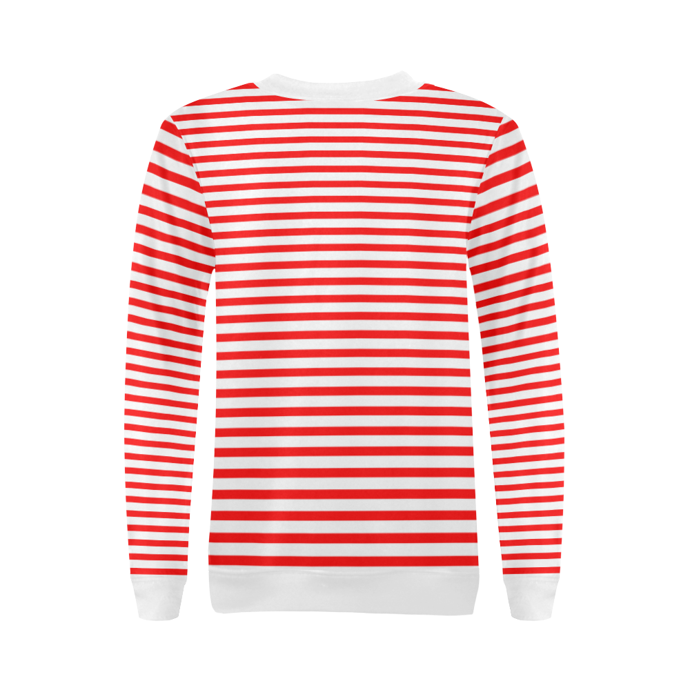 Horizontal Red Candy Stripes All Over Print Crewneck Sweatshirt for Women (Model H18)