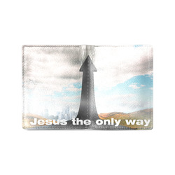 picture of road pointing to heaven mens wallet Men's Leather Wallet (Model 1612)