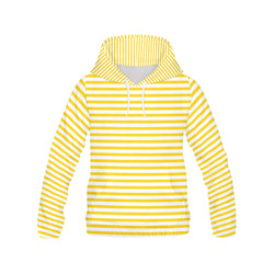 Horizontal Yellow Candy Stripes All Over Print Hoodie for Women (USA Size) (Model H13)