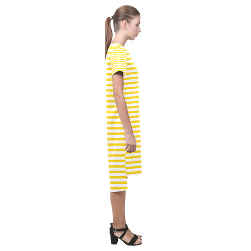 Horizontal Yellow Candy Stripes Short Sleeves Casual Dress(Model D14)