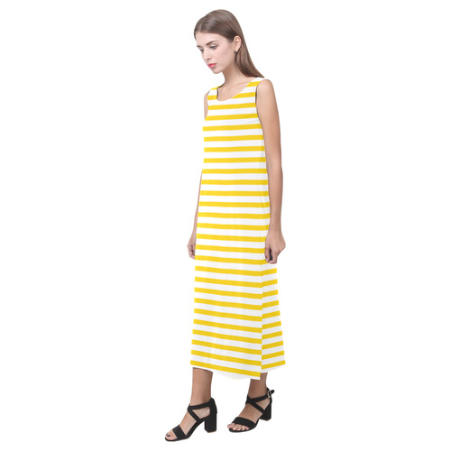 Horizontal Yellow Candy Stripes Phaedra Sleeveless Open Fork Long Dress (Model D08)