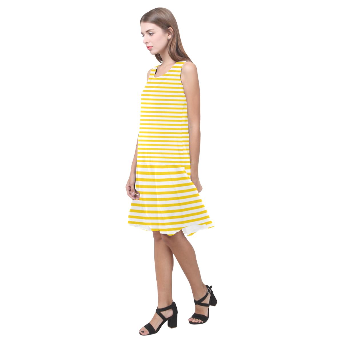 Horizontal Yellow Candy Stripes Sleeveless Splicing Shift Dress(Model D17)
