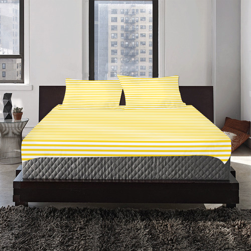 Horizontal Yellow Candy Stripes 3-Piece Bedding Set