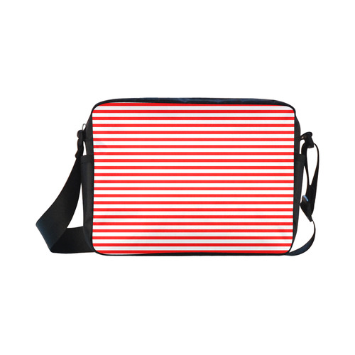Horizontal Red Candy Stripes Classic Cross-body Nylon Bags (Model 1632)