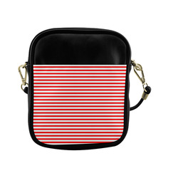 Horizontal Red Candy Stripes Sling Bag (Model 1627)