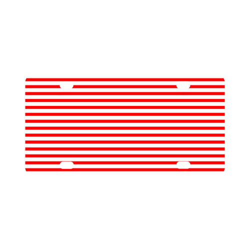 Horizontal Red Candy Stripes Classic License Plate