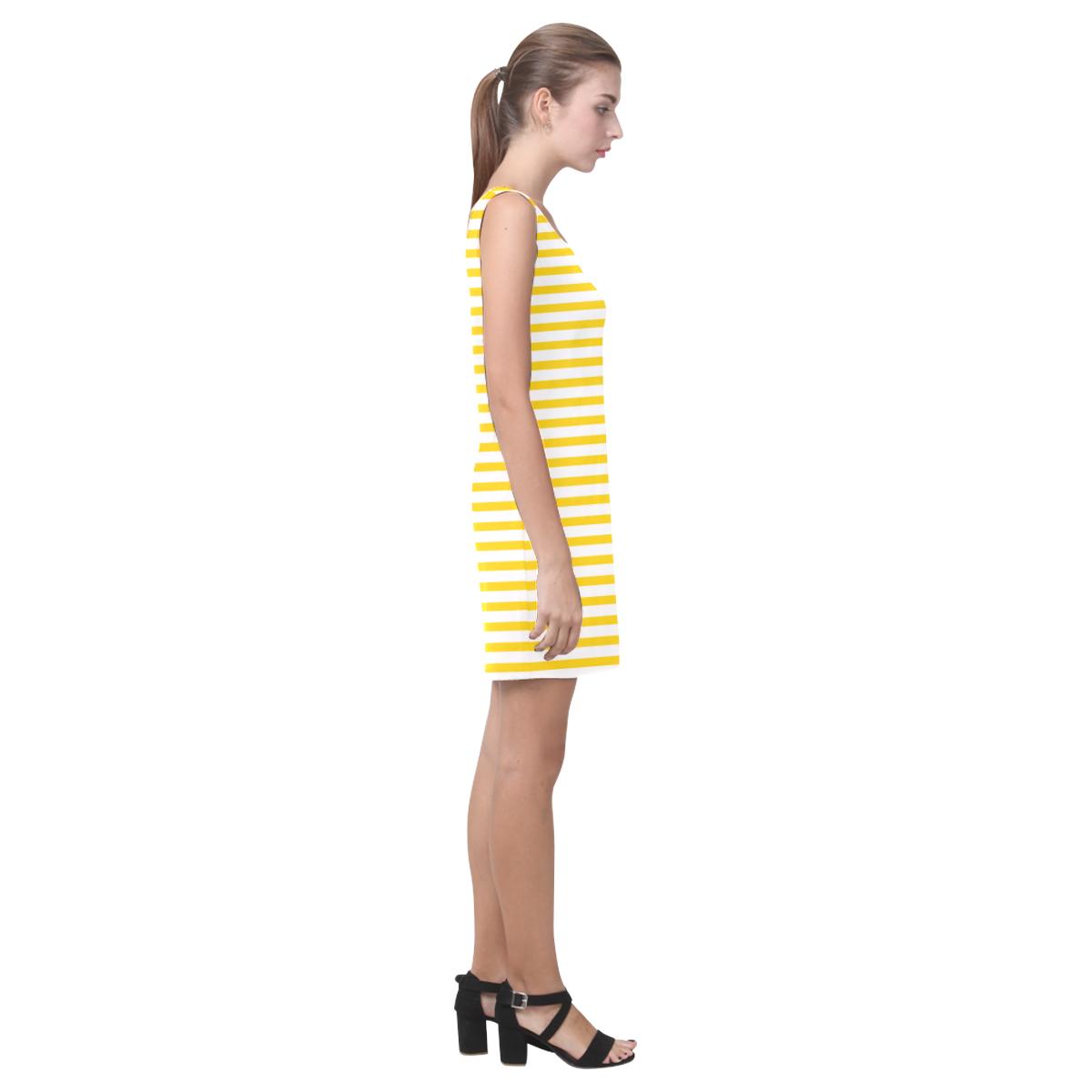 Horizontal Yellow Candy Stripes Medea Vest Dress (Model D06)