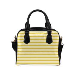 Horizontal Yellow Candy Stripes Shoulder Handbag (Model 1634)