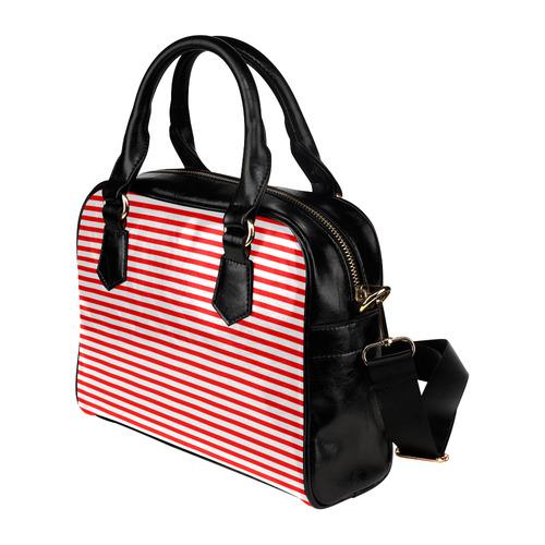 Horizontal Red Candy Stripes Shoulder Handbag (Model 1634)
