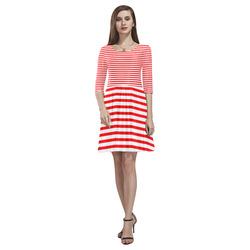 Horizontal Red Candy Stripes Tethys Half-Sleeve Skater Dress(Model D20)