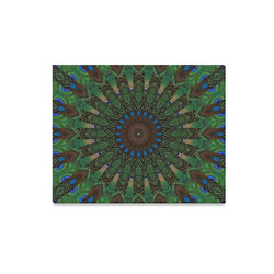 "Canvas Print 20""x16"" Peacock Feathers Green Blue Brown Geometric Mandala Pattern Canvas Print 20""x16"""