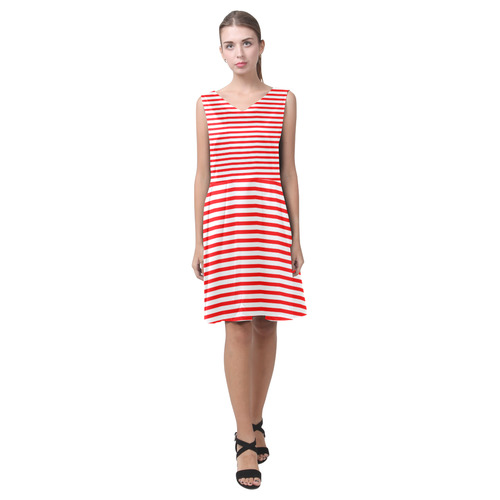 Horizontal Red Candy Stripes Chryseis Sleeveless Pleated Dress(Model D07)