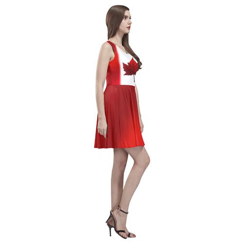 Canada Flag Dresses - Short Thea Sleeveless Skater Dress(Model D19)
