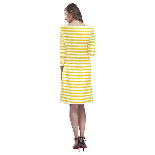 Horizontal Yellow Candy Stripes Rhea Loose Round Neck Dress(Model D22)