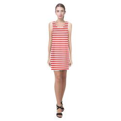 Horizontal Red Candy Stripes Helen Sleeveless Dress (Model D10)