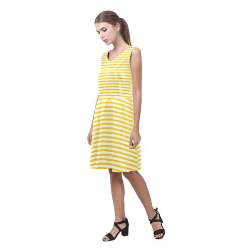 Horizontal Yellow Candy Stripes Chryseis Sleeveless Pleated Dress(Model D07)
