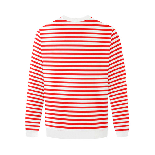 Horizontal Red Candy Stripes Men's Oversized Fleece Crew Sweatshirt/Large Size(Model H18)
