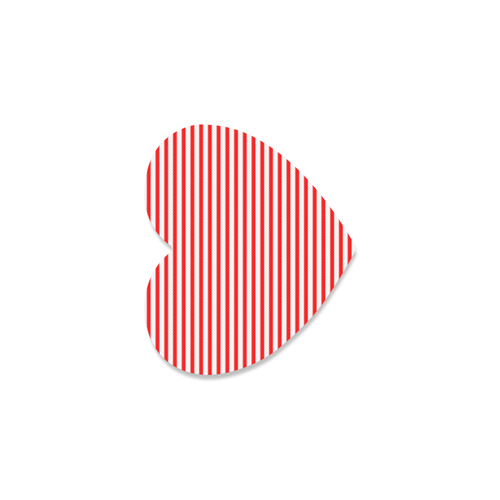 Horizontal Red Candy Stripes Heart Coaster