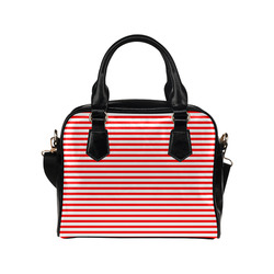 Horizontal Red Candy Stripes Shoulder Handbag (Model 1634)